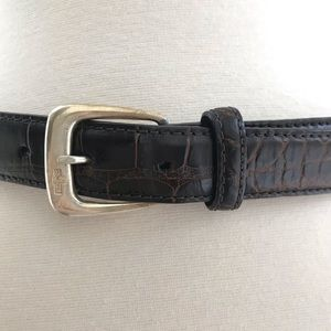 Ralph Lauren crocodile belt sterling silver buckle